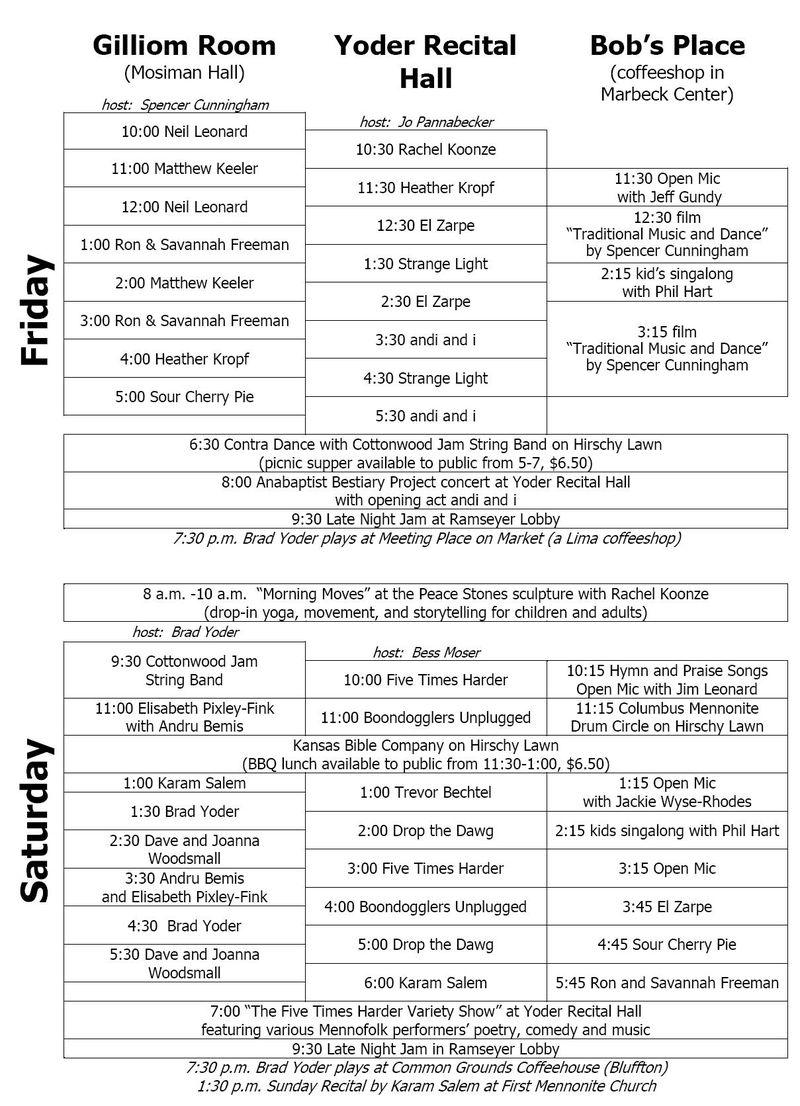 Mennofolk schedule